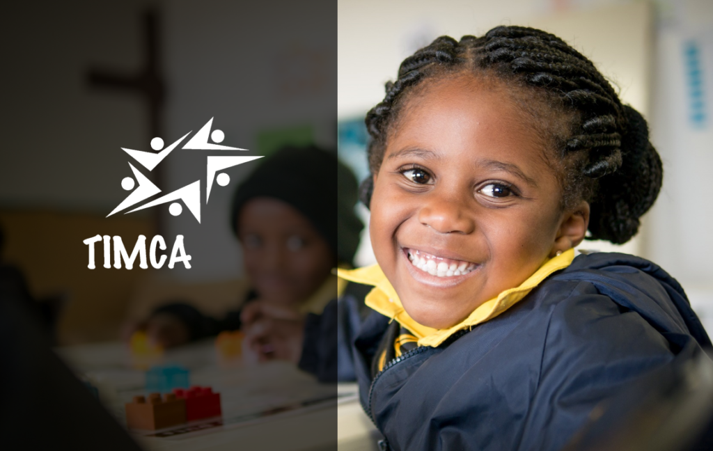 A smiling girl and the TIMCA logo